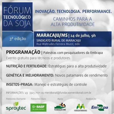 Fórum Tecnológico da Soja acontece dia 24 de julho em Maracaju
