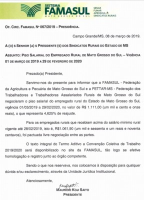 Piso Salarial do Empregado Rural de Mato Grosso do Sul – 2019-2020