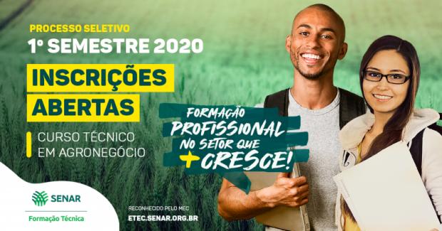 Senar/MS oferta 190 vagas para Curso de Nível Técnico em Agronegócio